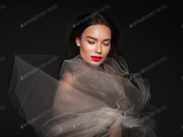 Art beauty female portrait red lipstick dress woman beautiful asian
