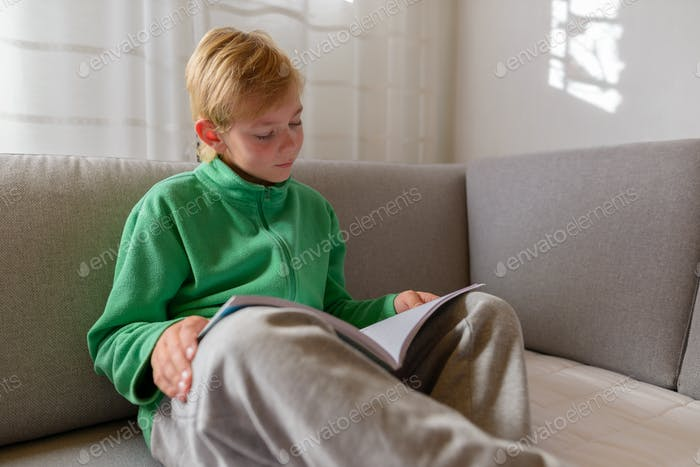 Young handsome boy reading book on the couch at home