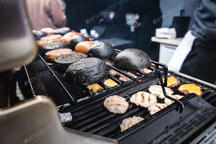 Toasting squid ink black burger buns