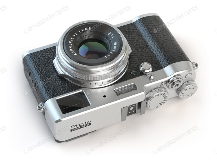 Retro vintage camera  isolated on white.