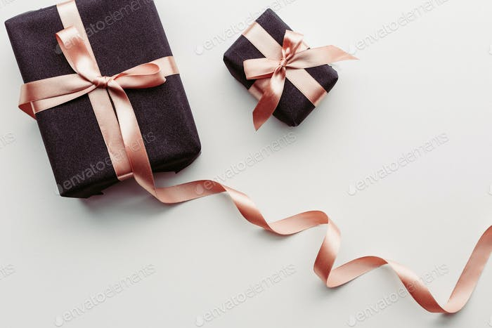 Black gift box on white background.