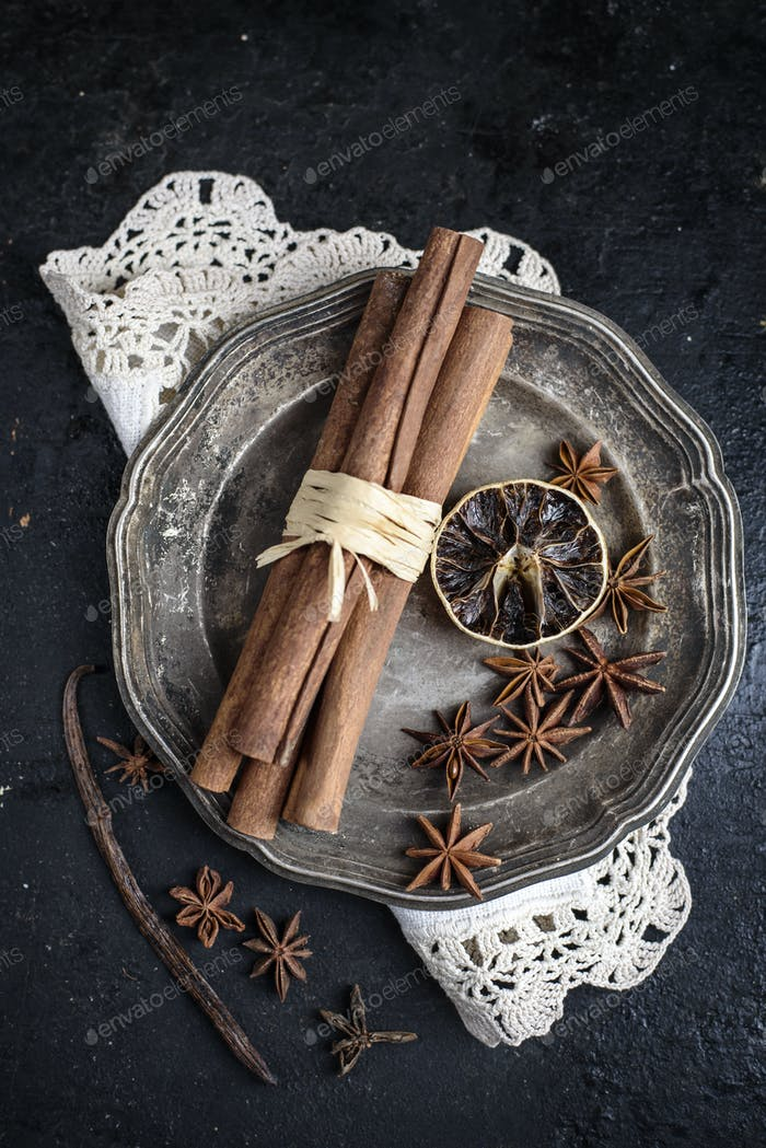Spices in silver plate