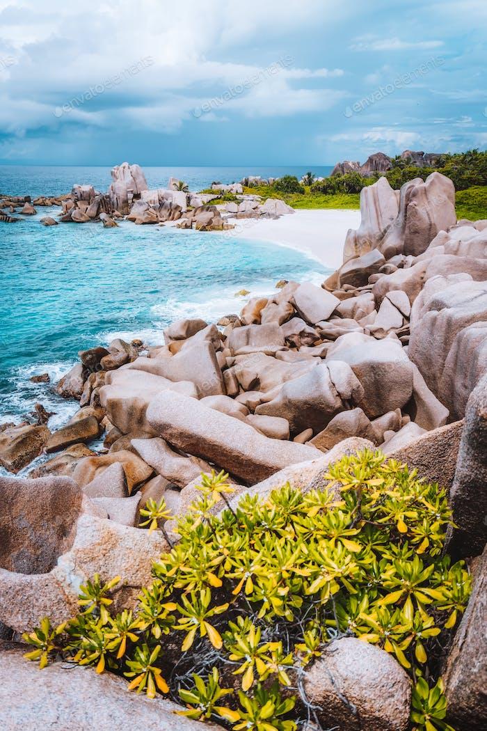 La Digue island coast, Seychelles. Hidden secluded remote beautiful beach in jungle