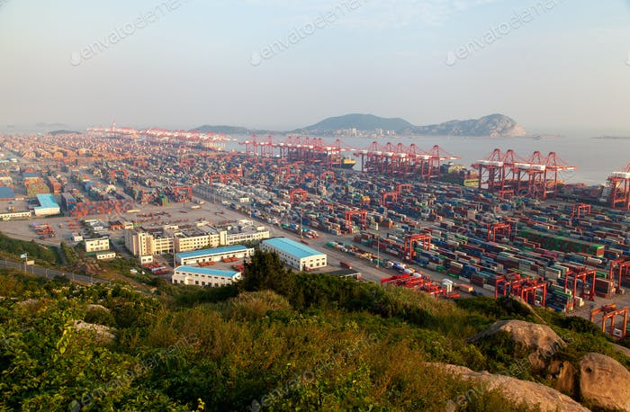 Yangshan Port with Shanghai terminal in China
