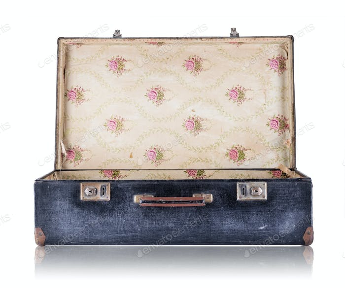 Open black vintage suitcase