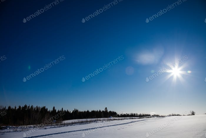 Rural Winter Landscape and Sunlight