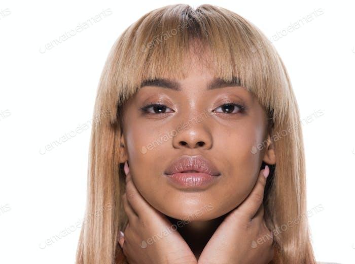 Blonde hair african american woman beauty