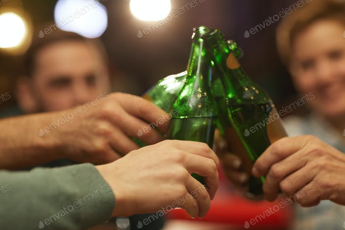 Drinking beer from bottles