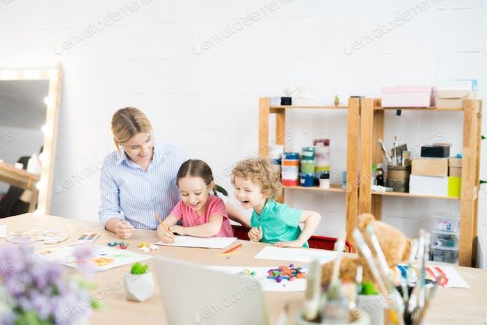 Happy Kids in Art Class