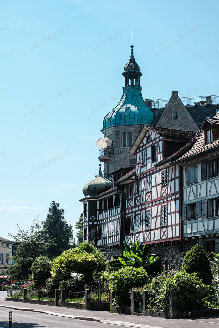 View of beautiful historical houses in swiss town Arbon