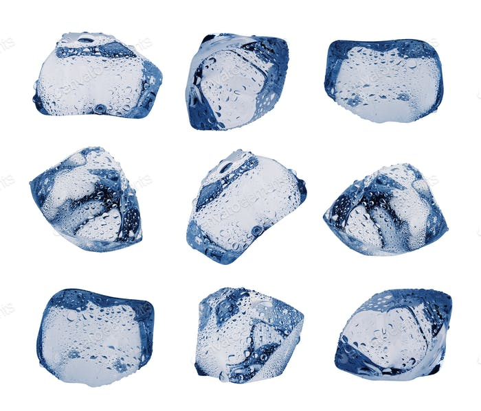 Large variety of ice cubes with droplets