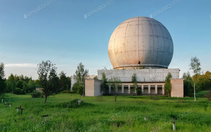 Abandoned Russian military base with antenna complexes