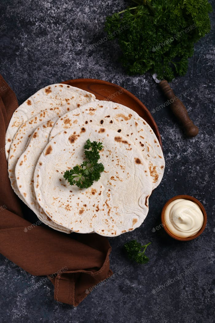 Flacher Kuchen Pita Tortilla Lavash