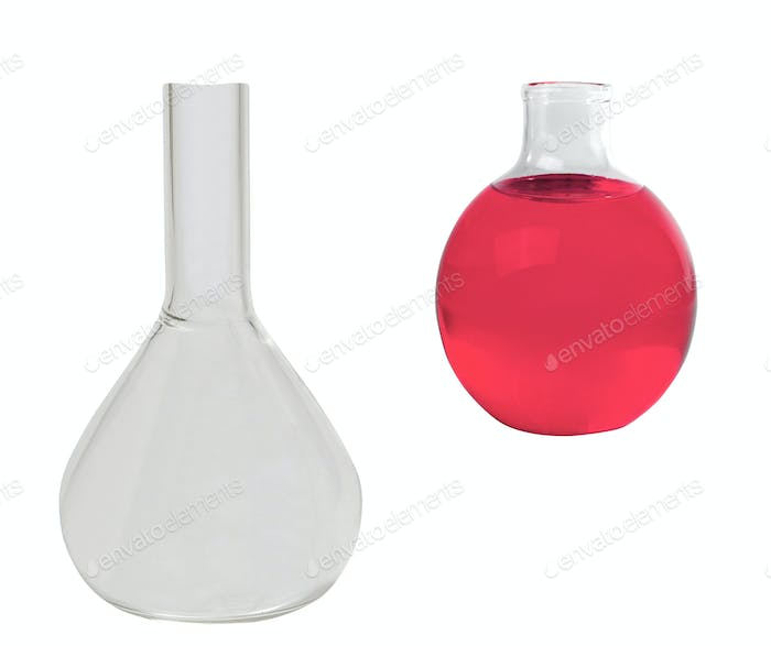 Chemical laboratory flasks with red liquid isolated