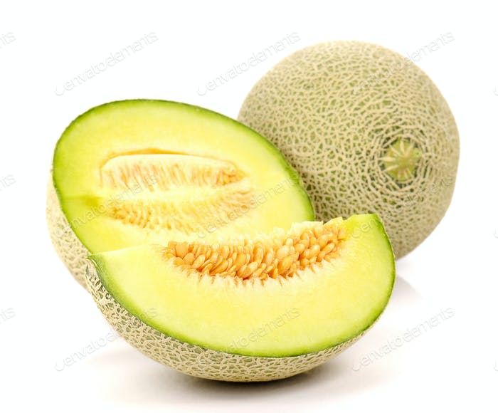 Melon , Melon slices on white background.