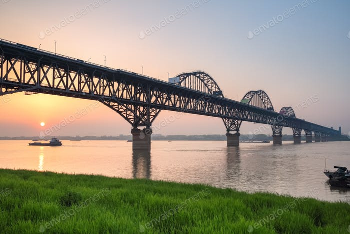 yangtze river bridge in sunset