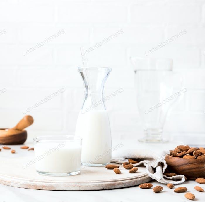 Almond milk.Drink for vegetarians.Dairy free milk substitute beverage.