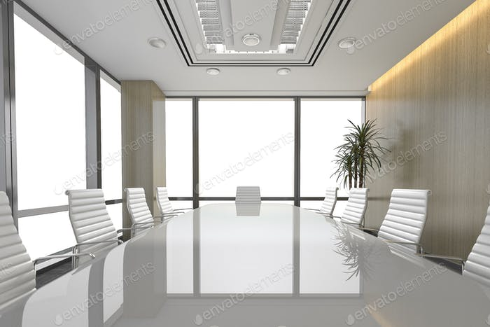 3d rendering seminar business meeting room on office building
