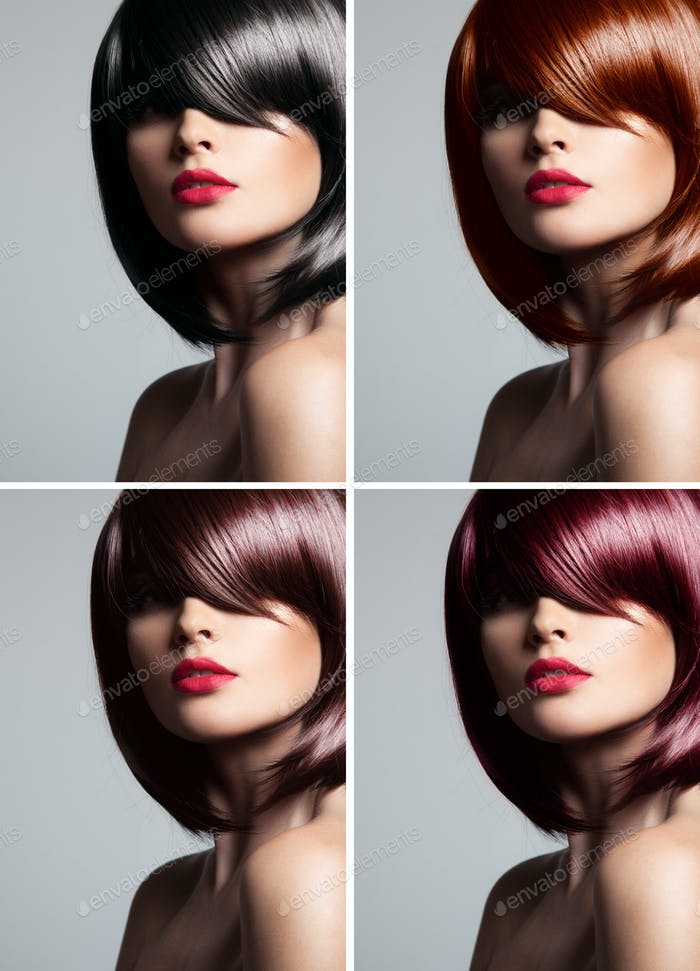 Collage Of A Beautiful Young Woman With Mixed Color Hair