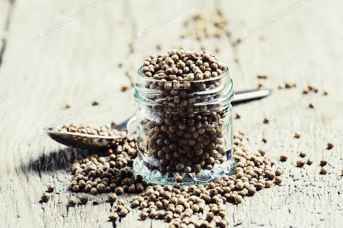 Coriander seeds in jar