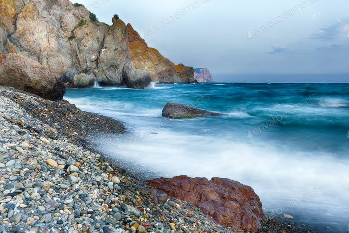 long exposure of sea and rocks