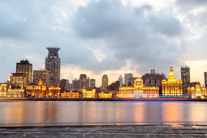 the bund of shanghai at dusk