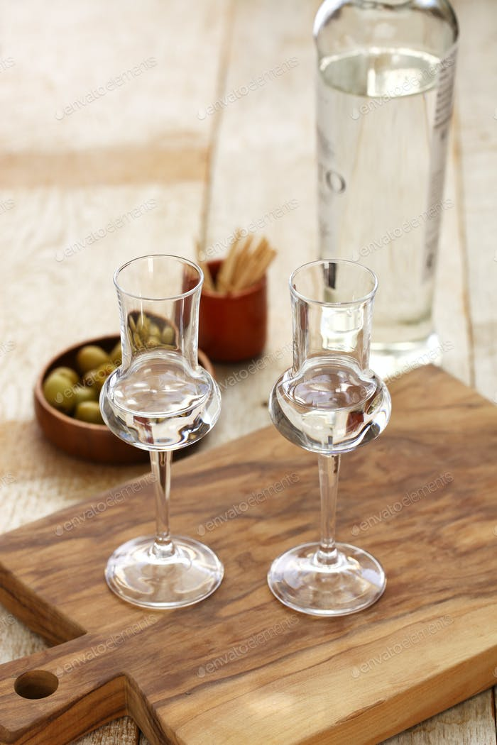 two glasses of  Grappa bianca, italian digestif