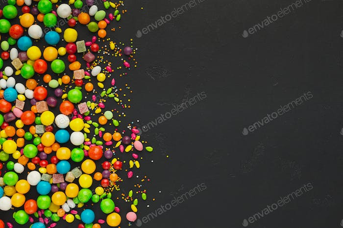 Colorful food background with candies and bonbons