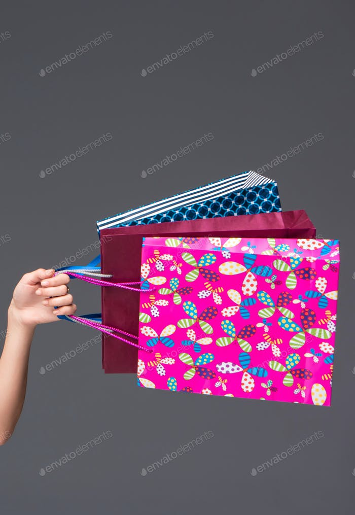 shopping bags on a gray background
