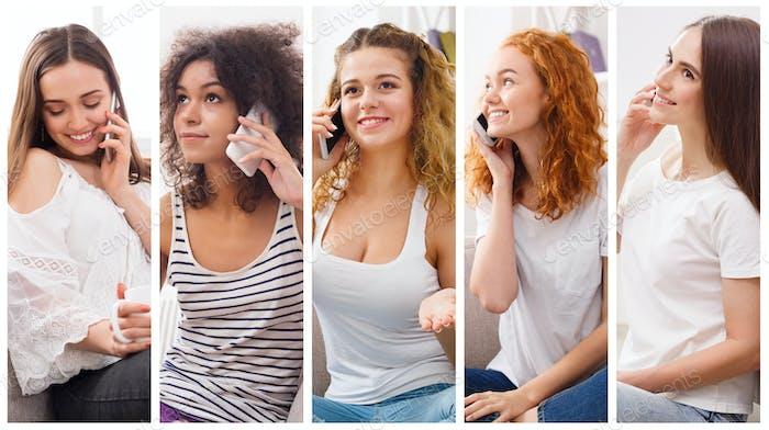 Collage de diversas Mujeres hablando en el Móvil