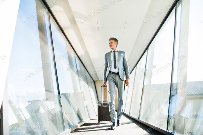 Mature businessman with suitcase travelling.