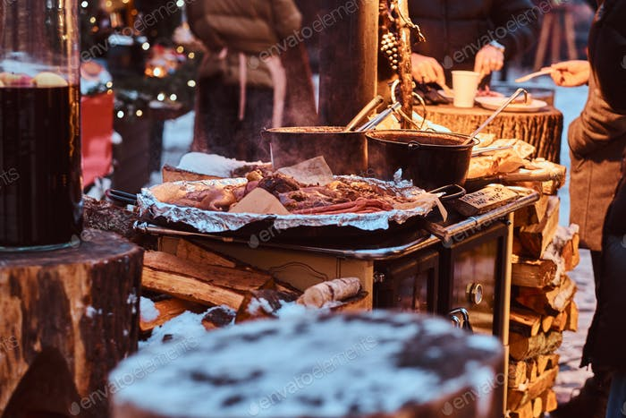 Street food in a winter fair at Christmas time.
