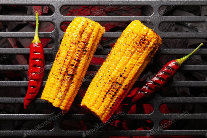 Hot grilled corn