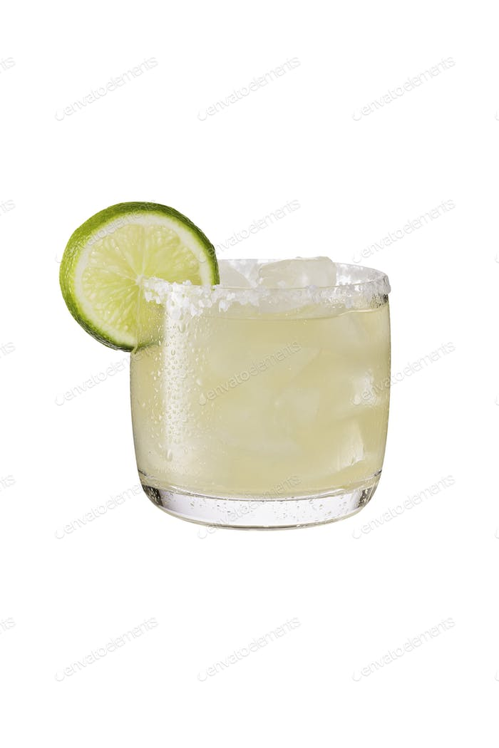 Refreshing Tequila Margarita Cocktail on White