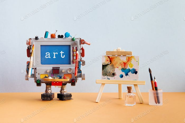 Art and artificial intelligence concept. Robotic computer with pencil