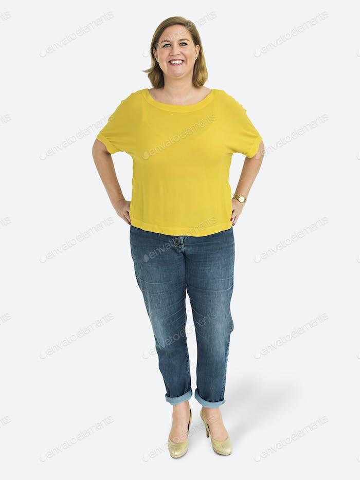 Caucasian woman standing mockup