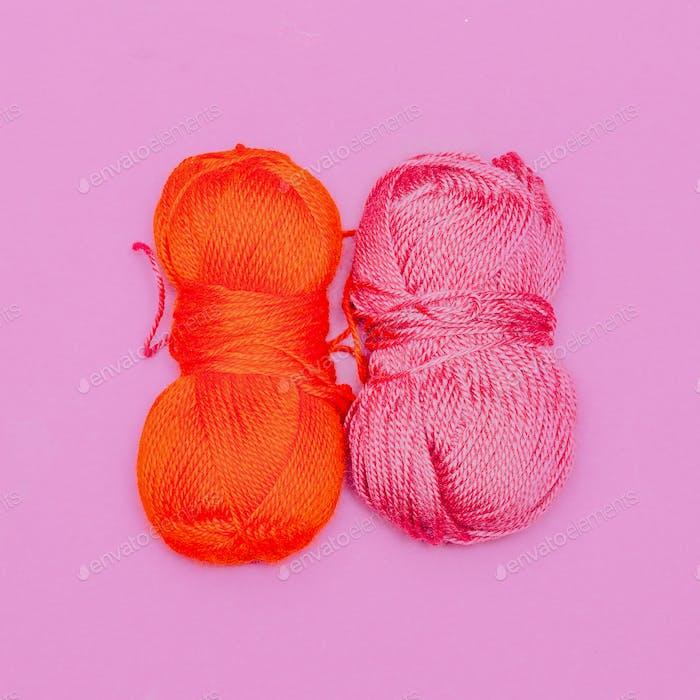 Yarn. Hobby. Minimal art design