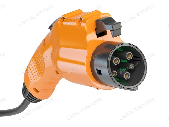 Car charger power plug with cable. Electric car charging plug isolated on white.