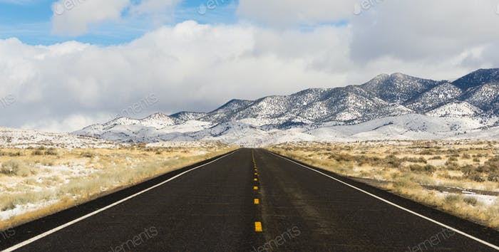 Winter Landscape Panoramic Great Basin Central Nevada Highway