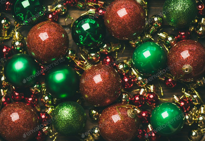 Colorful christmas tree decoration balls, top view
