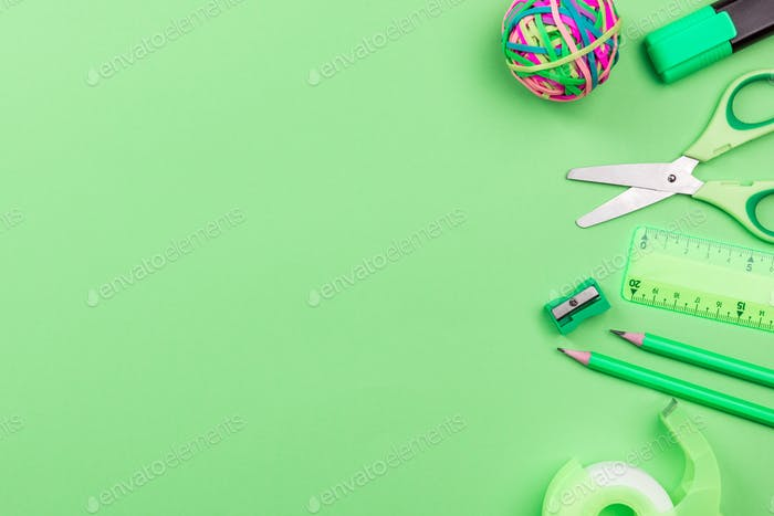 School Accessories on Green Background, Flat Lay, Back To School