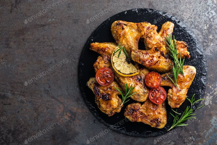 BBQ chicken wings, spicy grilled meat