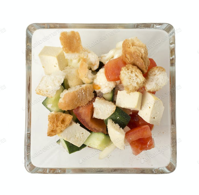 Delicious vegetable salad with tofu cheese.