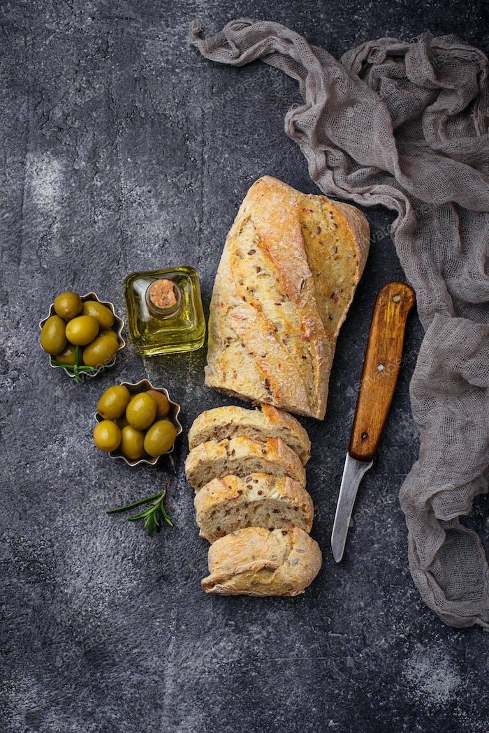 Italian ciabatta bread with olives.
