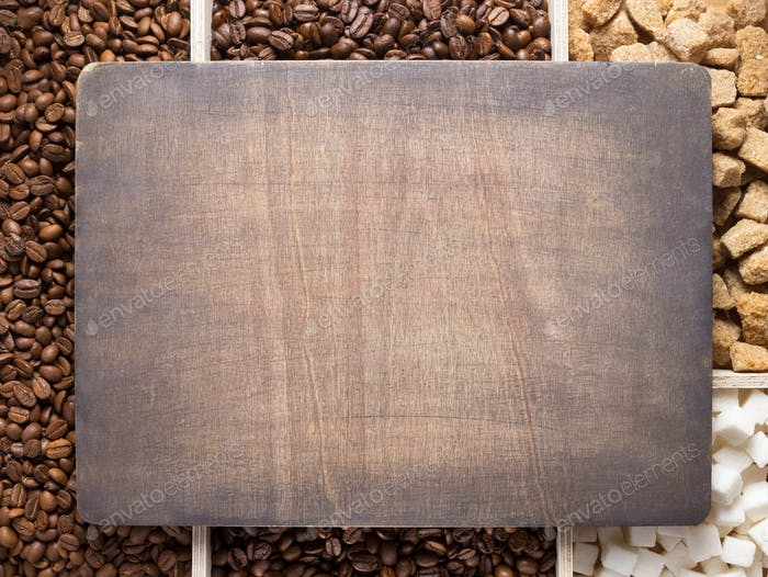 Kaffeebohnen und Holzdiele Banner