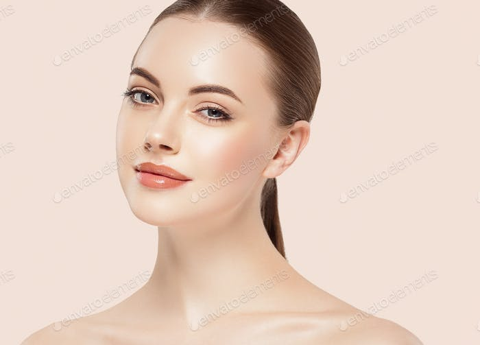 Beauty Woman face Portrait. Beautiful model Girl with Perfect Fresh Clean Skin. Youth