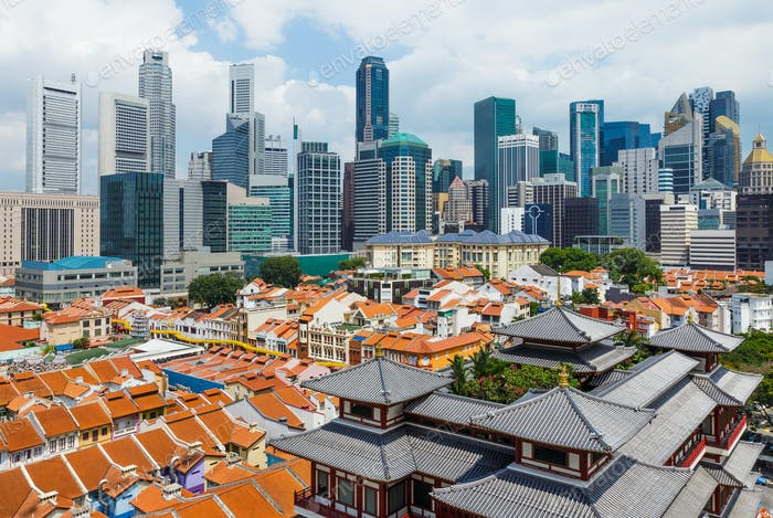 Chinatown and business center of Singapore