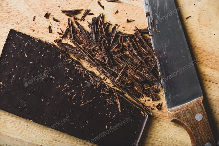 Crushed dark chocolate bar