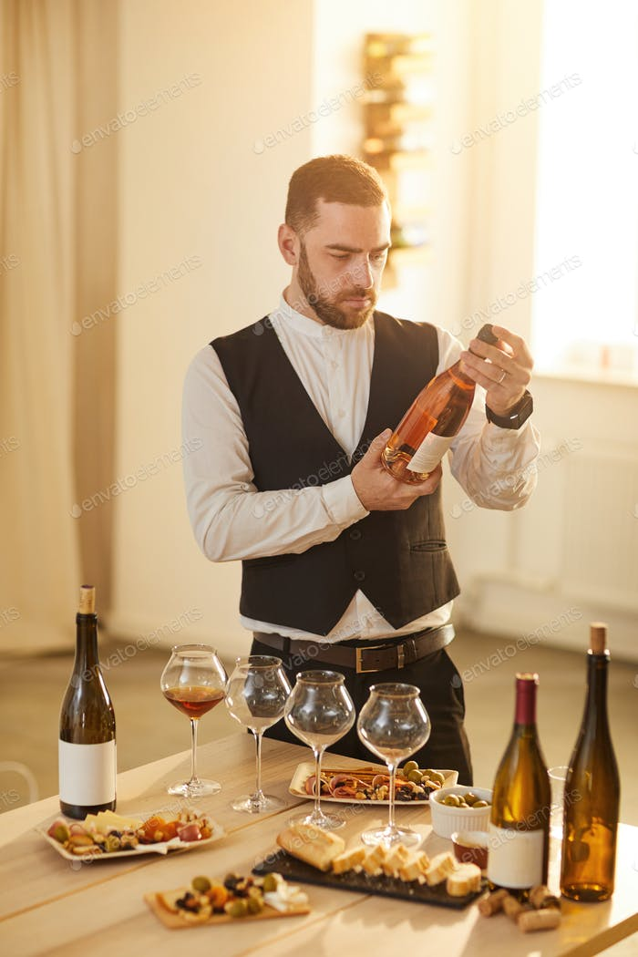 Sommelier Choosing Rose Wine