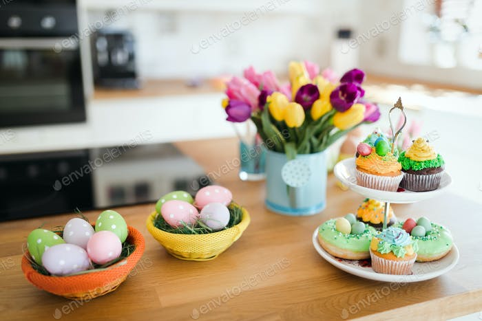 Easter eggs in beautiful kitchen